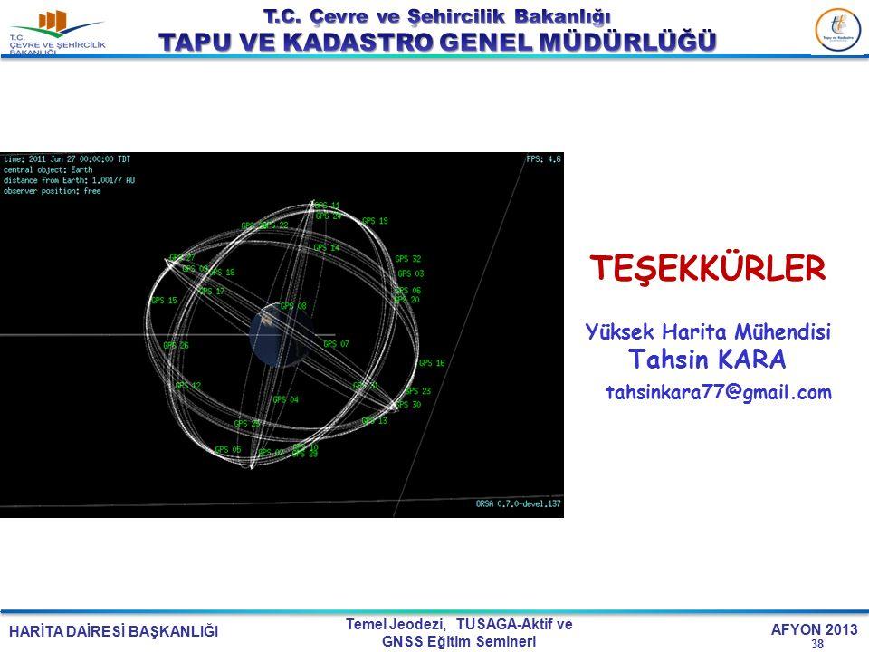 HARİTA DAİRESİ BAŞKANLIĞI Temel Jeodezi, TUSAGA-Aktif ve GNSS Eğitim Semineri AFYON 2013 TEŞEKKÜRLER Yüksek Harita Mühendisi Tahsin KARA tahsinkara77@