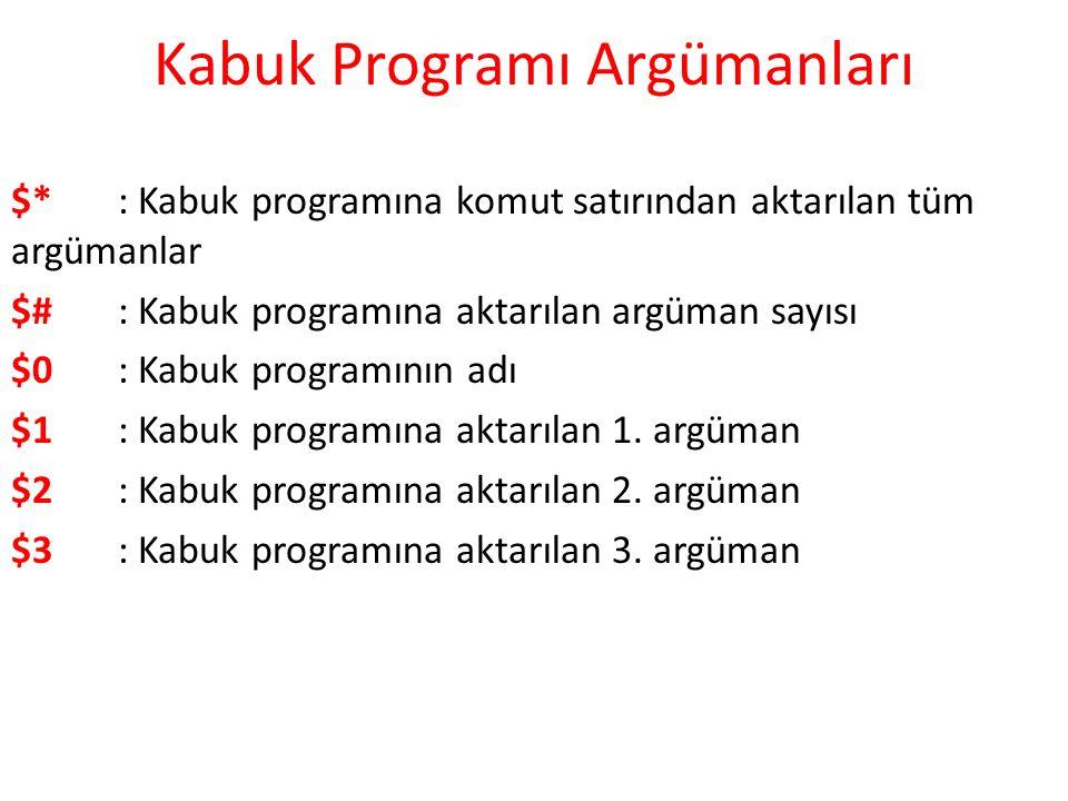 Kabuk Programı Argümanları $*: Kabuk programına komut satırından aktarılan tüm argümanlar $#: Kabuk programına aktarılan argüman sayısı $0: Kabuk programının adı $1: Kabuk programına aktarılan 1.