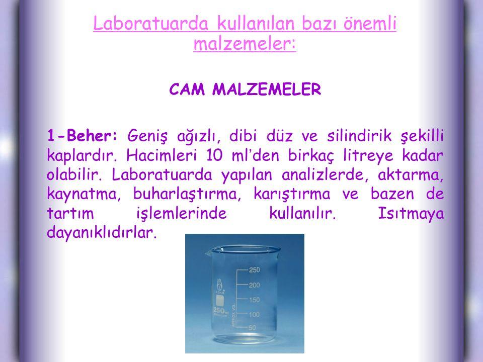 Laboratuarda kullanılan bazı önemli malzemeler: CAM MALZEMELER 1-Beher: Geniş ağızlı, dibi düz ve silindirik şekilli kaplardır.