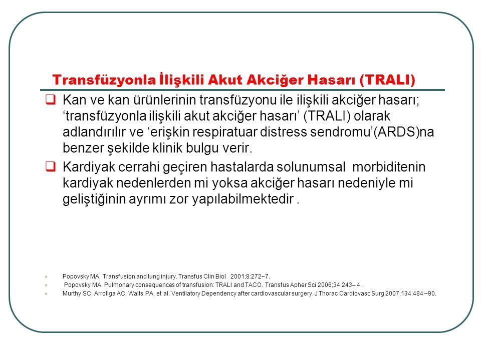 Transfüzyonla İlişkili Akut Akciğer Hasarı (TRALI)  Kan ve kan ürünlerinin transfüzyonu ile ilişkili akciğer hasarı; 'transfüzyonla ilişkili akut akc