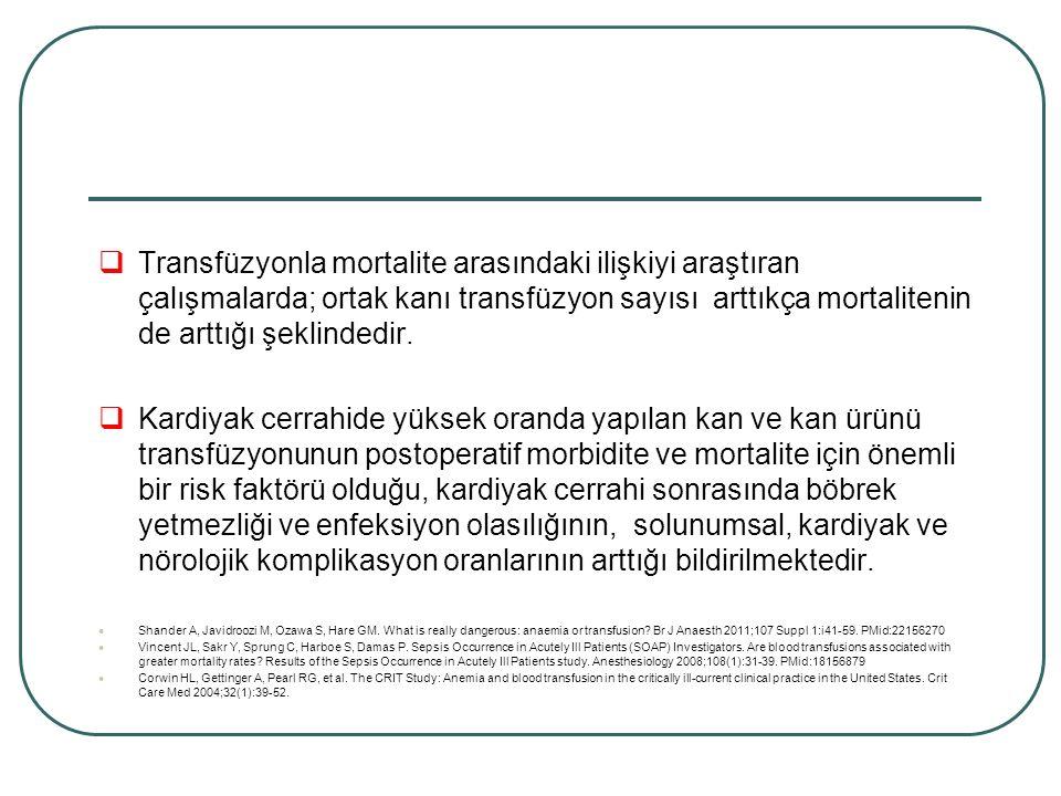Alexander ark.A.akciğer hasarının nin transfüzyonla ilişkili mortalite ve morbiditenin önde gelen nedeni olduğunu belirtmişler Merkezimizde Htc değeri, KPB süresinde en az %20, KPB çıkışında ise yaklaşık Htc: %26, Hb: 7 gr/dl olacak şekilde ve hastaya özgü durumlar değerlendirilerek TDK ya da ERT replasmanı yapılmaktadır Alexander P.