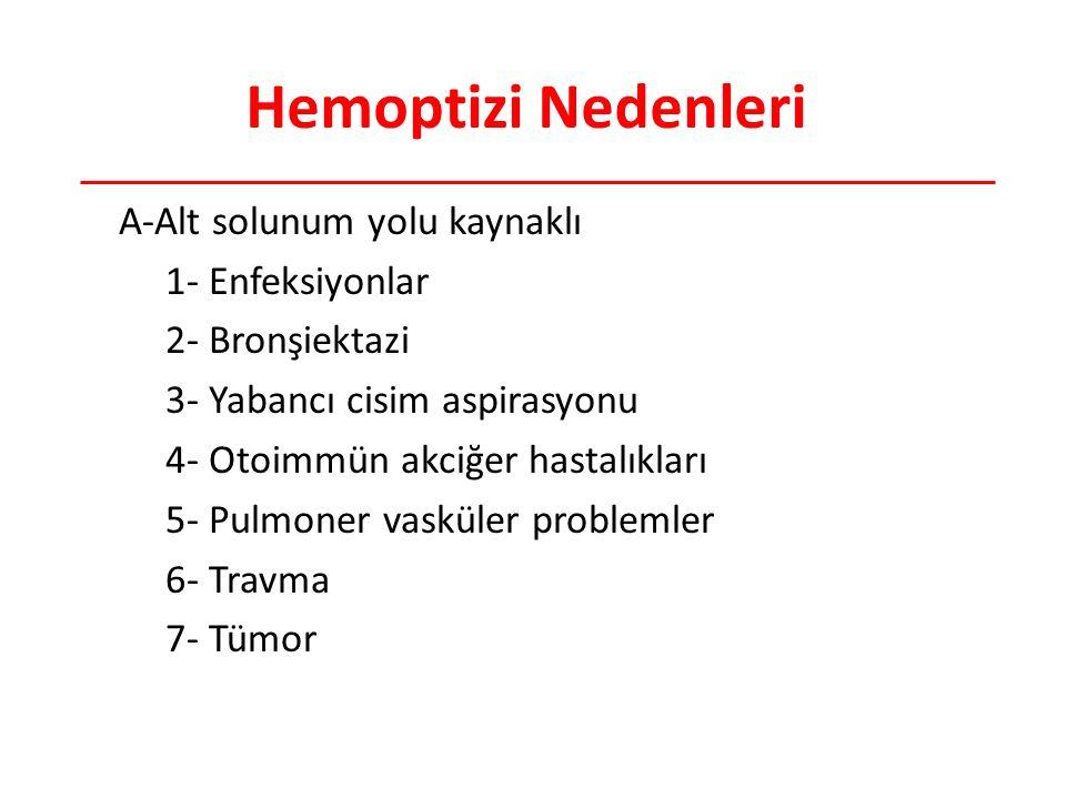Hemoptizi Nedenleri A-Alt solunum yolu kaynaklı 1- Enfeksiyonlar 2- Bronşiektazi 3- Yabancı cisim aspirasyonu 4- Otoimmün akciğer hastalıkları 5- Pulmoner vasküler problemler 6- Travma 7- Tümor