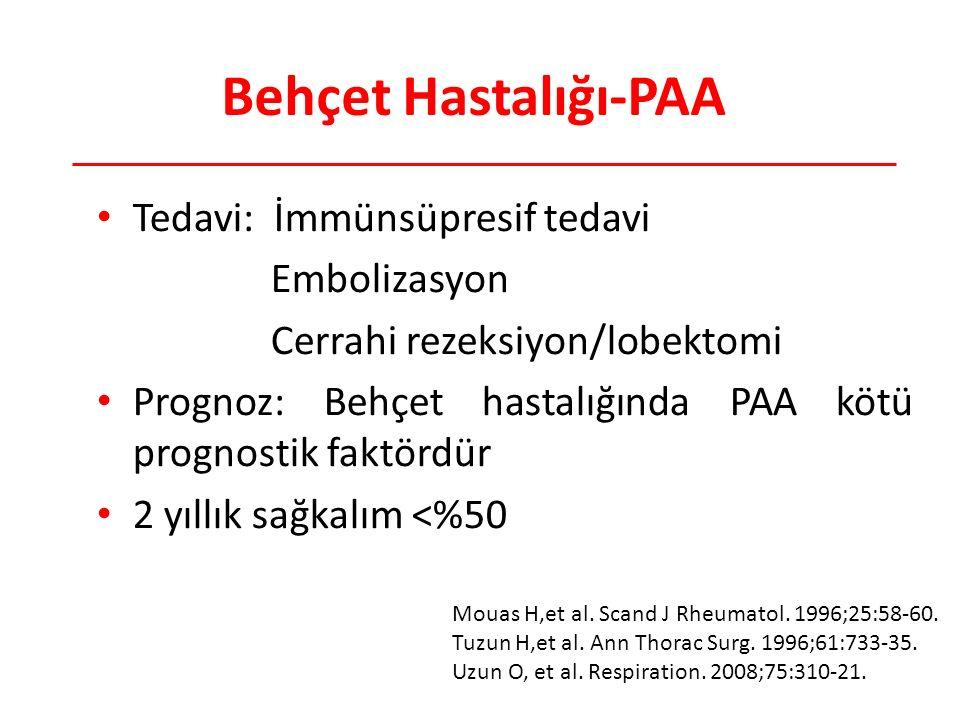 Behçet Hastalığı-PAA Tedavi: İmmünsüpresif tedavi Embolizasyon Cerrahi rezeksiyon/lobektomi Prognoz: Behçet hastalığında PAA kötü prognostik faktördür 2 yıllık sağkalım <%50 Mouas H,et al.