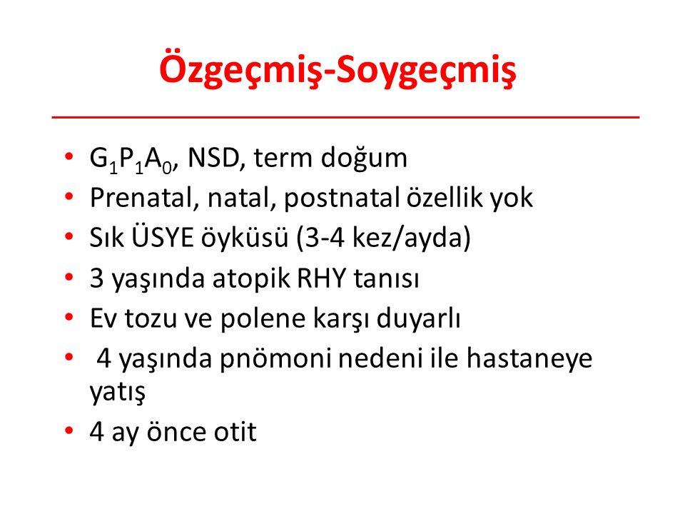Özgeçmiş-Soygeçmiş G 1 P 1 A 0, NSD, term doğum Prenatal, natal, postnatal özellik yok Sık ÜSYE öyküsü (3-4 kez/ayda) 3 yaşında atopik RHY tanısı Ev t