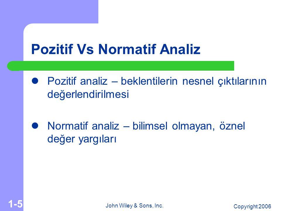 Copyright 2006 John Wiley & Sons, Inc. 1-5 Pozitif Vs Normatif Analiz Pozitif analiz – beklentilerin nesnel çıktılarının değerlendirilmesi Normatif an