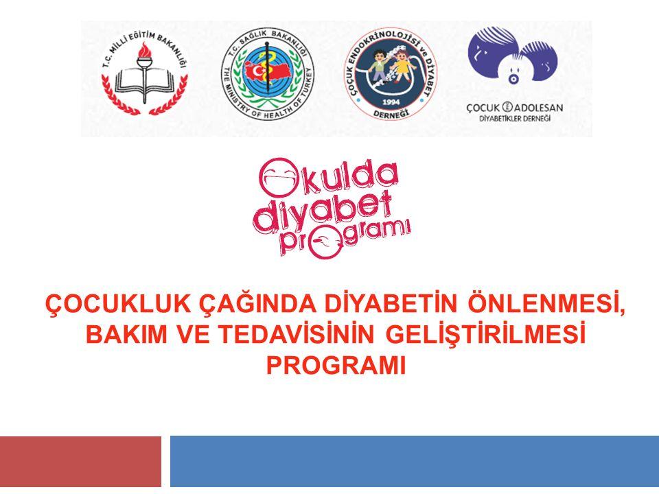 Programın Amacı  Ülkemizde çocukluk çağında insulin kullanan çocukları okulda diyabet bakımlarını güçlendirmek ve yaşadıkları sorunları çözmek  Öğretmenlerde diyabet konusunda farkındalık yaratarak erken tanı ile komanın önlenmesi