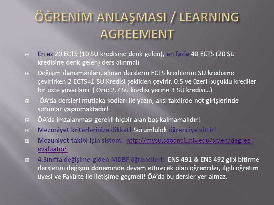  En az 20 ECTS (10 SU kredisine denk gelen), en fazla 40 ECTS (20 SU kredisine denk gelen) ders alınmalı  Değişim danışmanları, alınan derslerin ECT