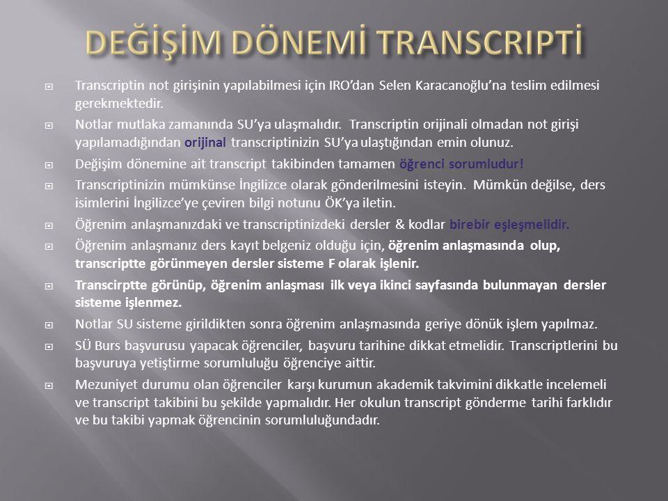  Transcriptin not girişinin yapılabilmesi için IRO'dan Selen Karacanoğlu'na teslim edilmesi gerekmektedir.  Notlar mutlaka zamanında SU'ya ulaşmalıd