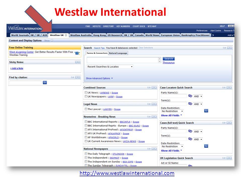 Westlaw International http://www.westlawinternational.com
