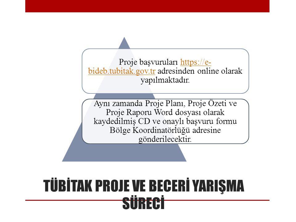 TÜBİTAK PROJE VE BECERİ YARIŞMA SÜRECİ Proje başvuruları https://e- bideb.tubitak.gov.tr adresinden online olarak yapılmaktadır.https://e- bideb.tubit