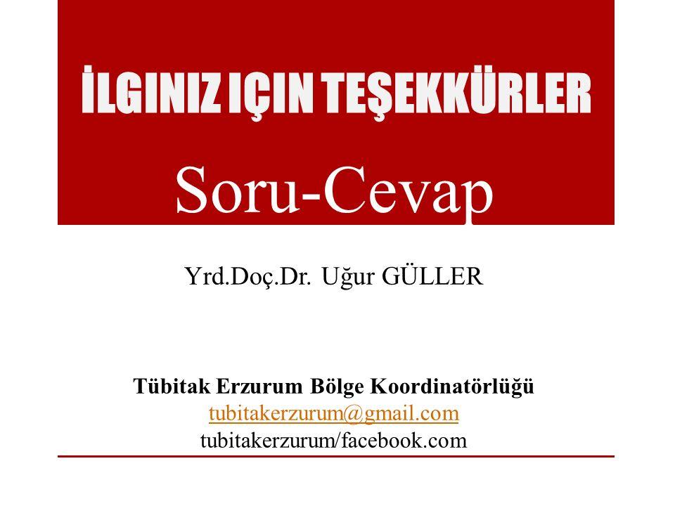İLGINIZ IÇIN TEŞEKKÜRLER Soru-Cevap Yrd.Doç.Dr. Uğur GÜLLER Tübitak Erzurum Bölge Koordinatörlüğü tubitakerzurum@gmail.com tubitakerzurum/facebook.com