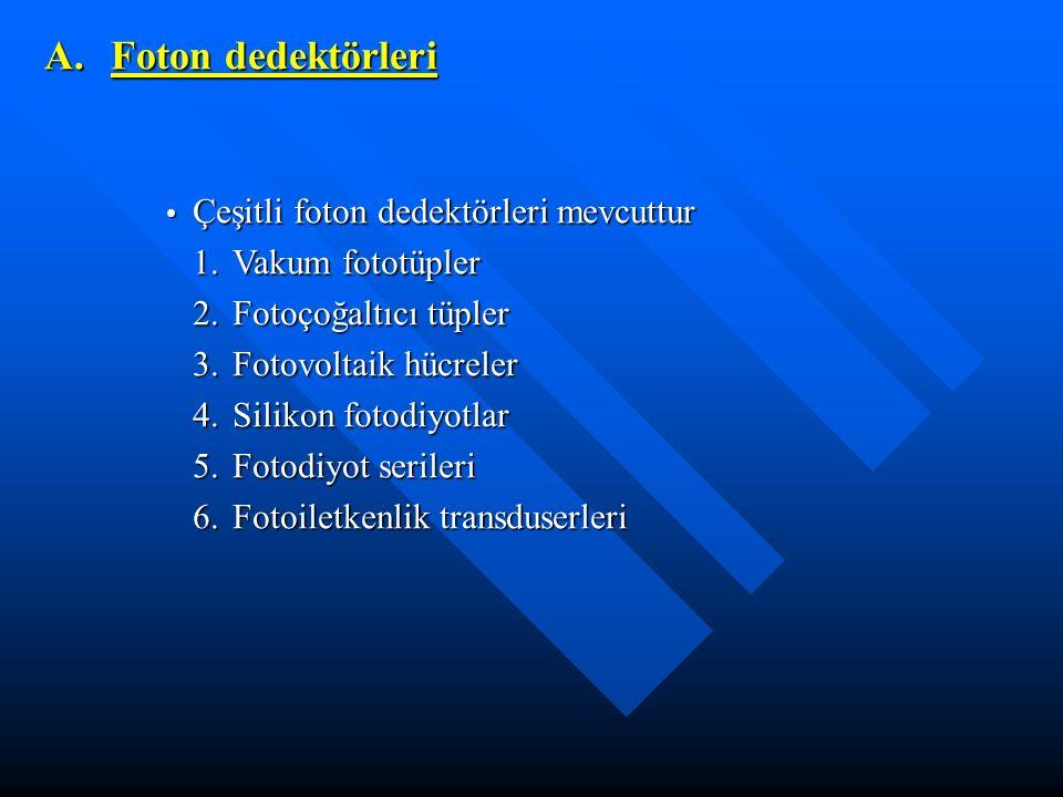 Çeşitli foton dedektörleri mevcuttur Çeşitli foton dedektörleri mevcuttur 1.Vakum fototüpler 2.Fotoçoğaltıcı tüpler 3.Fotovoltaik hücreler 4.Silikon f