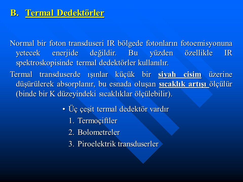 Üç çeşit termal dedektör vardırÜç çeşit termal dedektör vardır 1.Termoçiftler 2.Bolometreler 3.Piroelektrik transduserler B. Termal Dedektörler Normal