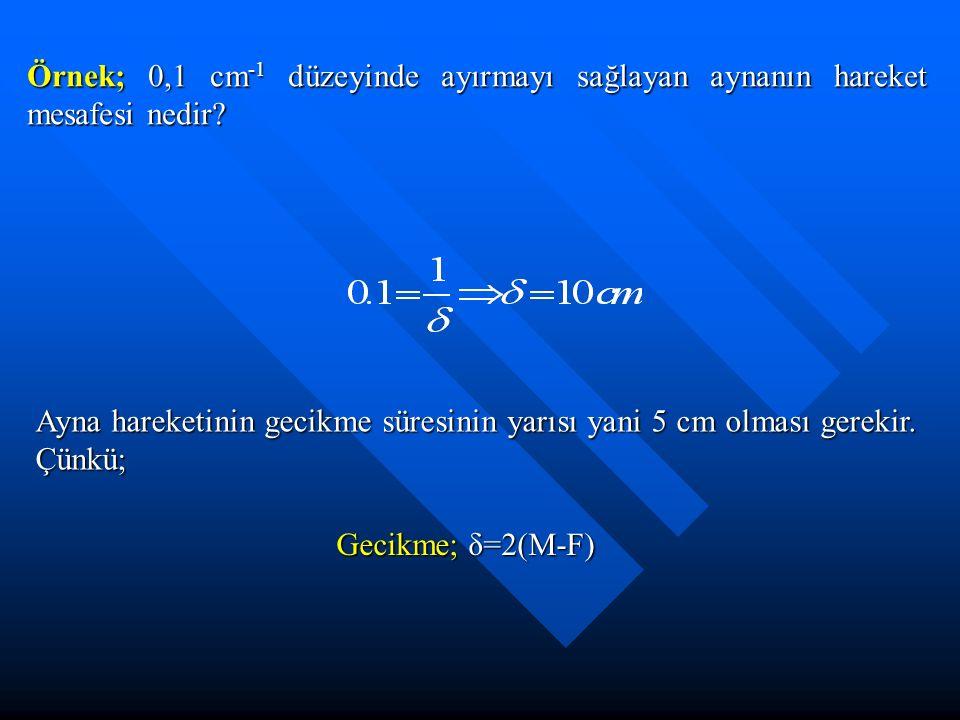 Örnek; 0,1 cm -1 düzeyinde ayırmayı sağlayan aynanın hareket mesafesi nedir? Ayna hareketinin gecikme süresinin yarısı yani 5 cm olması gerekir. Çünkü