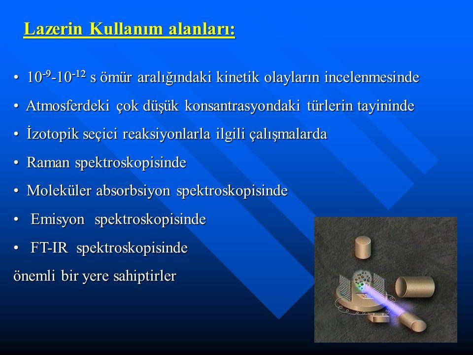 Lazerin Kullanım alanları: 10 -9 -10 -12 s ömür aralığındaki kinetik olayların incelenmesinde 10 -9 -10 -12 s ömür aralığındaki kinetik olayların ince