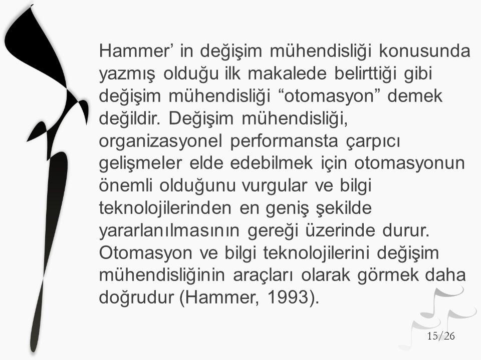 """Hammer' in değişim mühendisliği konusunda yazmış olduğu ilk makalede belirttiği gibi değişim mühendisliği """"otomasyon"""" demek değildir. Değişim mühendis"""