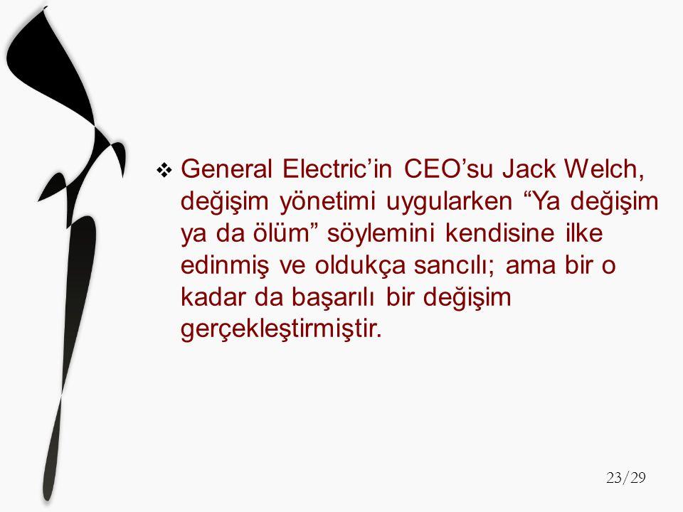 """GGeneral Electric'in CEO'su Jack Welch, değişim yönetimi uygularken """"Ya değişim ya da ölüm"""" söylemini kendisine ilke edinmiş ve oldukça sancılı; ama"""