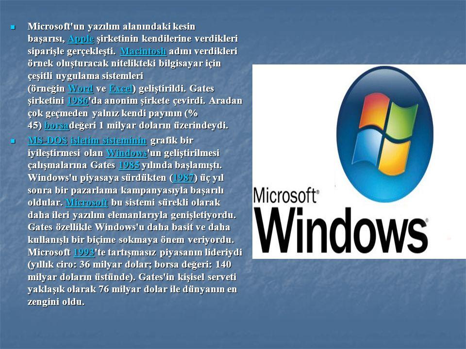 Microsoft'un yazılım alanındaki kesin başarısı, Apple şirketinin kendilerine verdikleri siparişle gerçekleşti. Macintosh adını verdikleri örnek oluştu