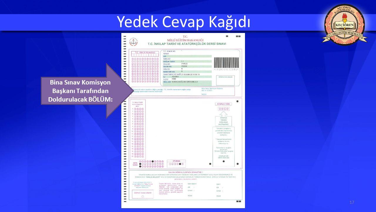 Yedek Cevap Kağıdı 17 Bina Sınav Komisyon Başkanı Tarafından Doldurulacak BÖLÜM: