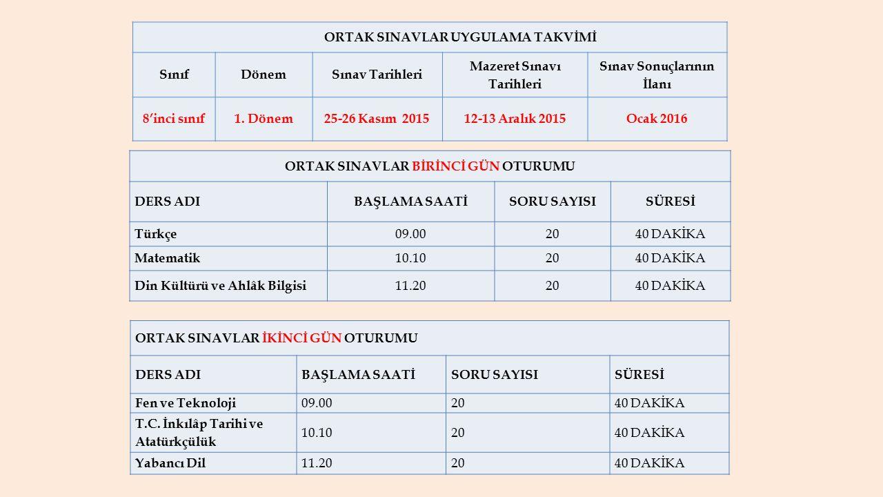 ORTAK SINAVLAR UYGULAMA TAKVİMİ SınıfDönemSınav Tarihleri Mazeret Sınavı Tarihleri Sınav Sonuçlarının İlanı 8'inci sınıf1. Dönem25-26 Kasım 201512-13
