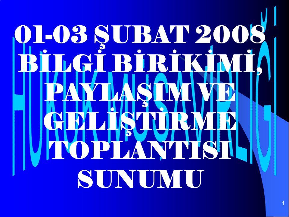 1 01-03 ŞUBAT 2008 BİLGİ BİRİKİMİ, PAYLAŞIM VE GELİŞTİRME TOPLANTISI SUNUMU