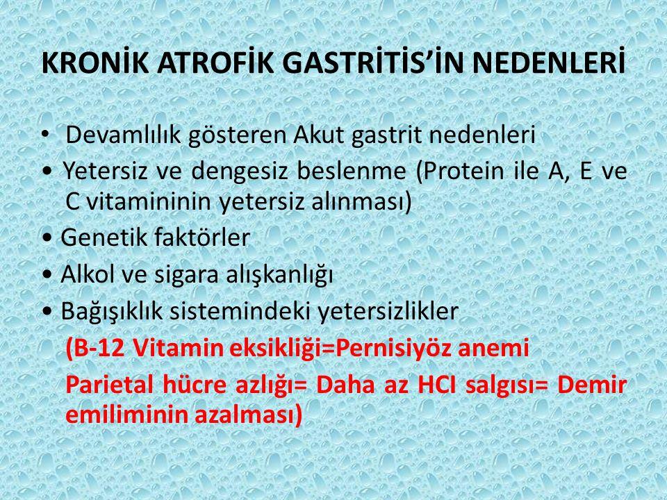 KRONİK ATROFİK GASTRİTİS'İN NEDENLERİ Devamlılık gösteren Akut gastrit nedenleri Yetersiz ve dengesiz beslenme (Protein ile A, E ve C vitamininin yete