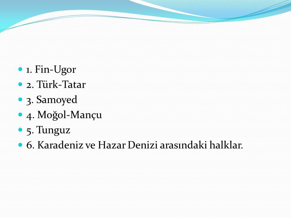 1. Fin-Ugor 2. Türk-Tatar 3. Samoyed 4. Moğol-Mançu 5. Tunguz 6. Karadeniz ve Hazar Denizi arasındaki halklar.