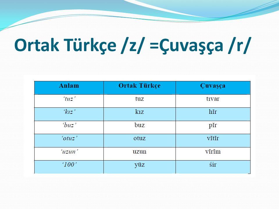 Ortak Türkçe /z/ =Çuvaşça /r/