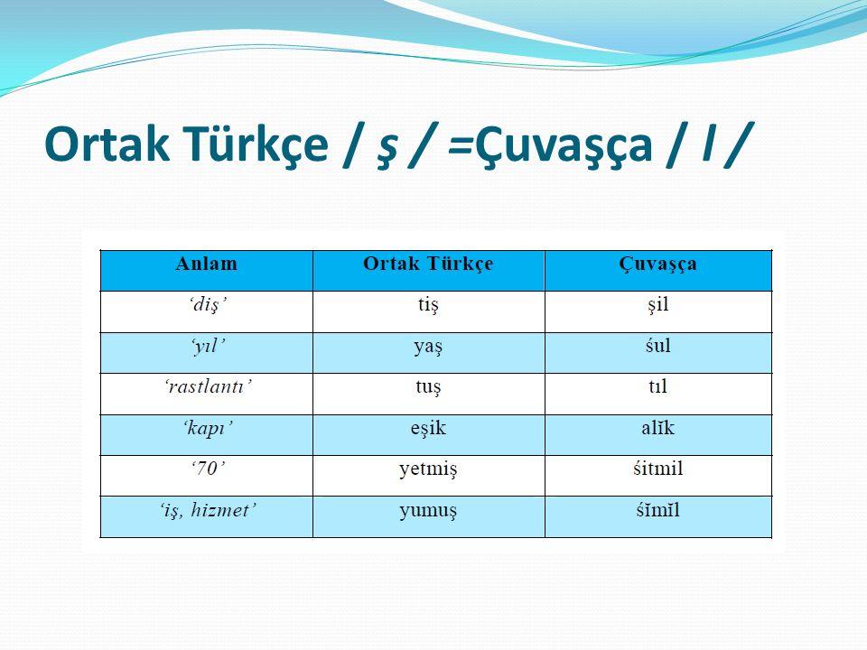 Ortak Türkçe / ş / =Çuvaşça / l /