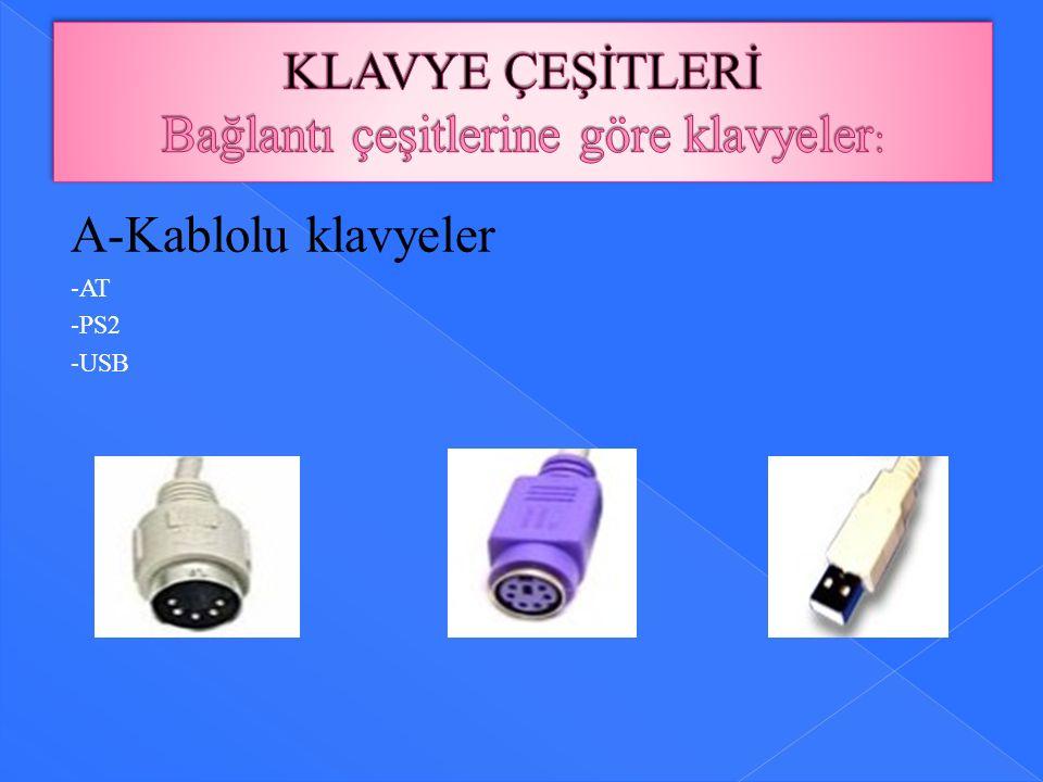 A-Kablolu klavyeler -AT -PS2 -USB