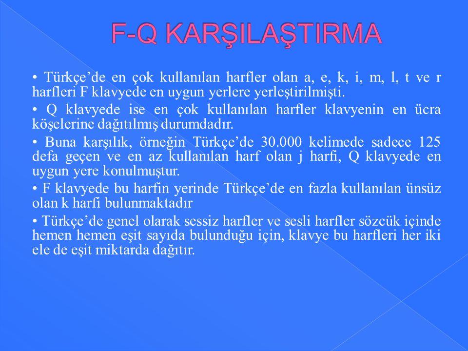 Türkçe'de en çok kullanılan harfler olan a, e, k, i, m, l, t ve r harfleri F klavyede en uygun yerlere yerleştirilmişti. Q klavyede ise en çok kullanı