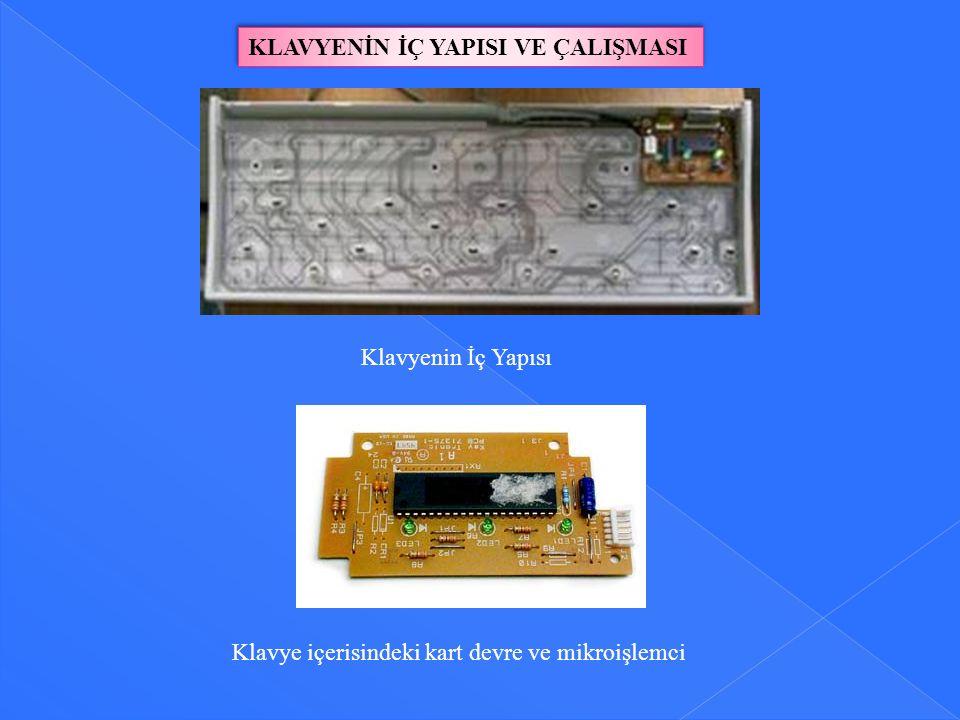KLAVYENİN İÇ YAPISI VE ÇALIŞMASI Klavyenin İç Yapısı Klavye içerisindeki kart devre ve mikroişlemci