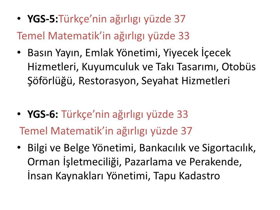 YGS-5:Türkçe'nin ağırlıgı yüzde 37 Temel Matematik'in ağırlıgı yüzde 33 Basın Yayın, Emlak Yönetimi, Yiyecek İçecek Hizmetleri, Kuyumculuk ve Takı Tasarımı, Otobüs Şöförlüğü, Restorasyon, Seyahat Hizmetleri YGS-6: Türkçe'nin ağırlıgı yüzde 33 Temel Matematik'in ağırlıgı yüzde 37 Bilgi ve Belge Yönetimi, Bankacılık ve Sigortacılık, Orman İşletmeciliği, Pazarlama ve Perakende, İnsan Kaynakları Yönetimi, Tapu Kadastro