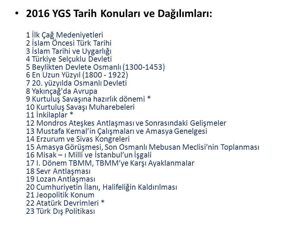 2016 YGS Tarih Konuları ve Dağılımları: 1 İlk Çağ Medeniyetleri 2 İslam Öncesi Türk Tarihi 3 İslam Tarihi ve Uygarlığı 4 Türkiye Selçuklu Devleti 5 Be