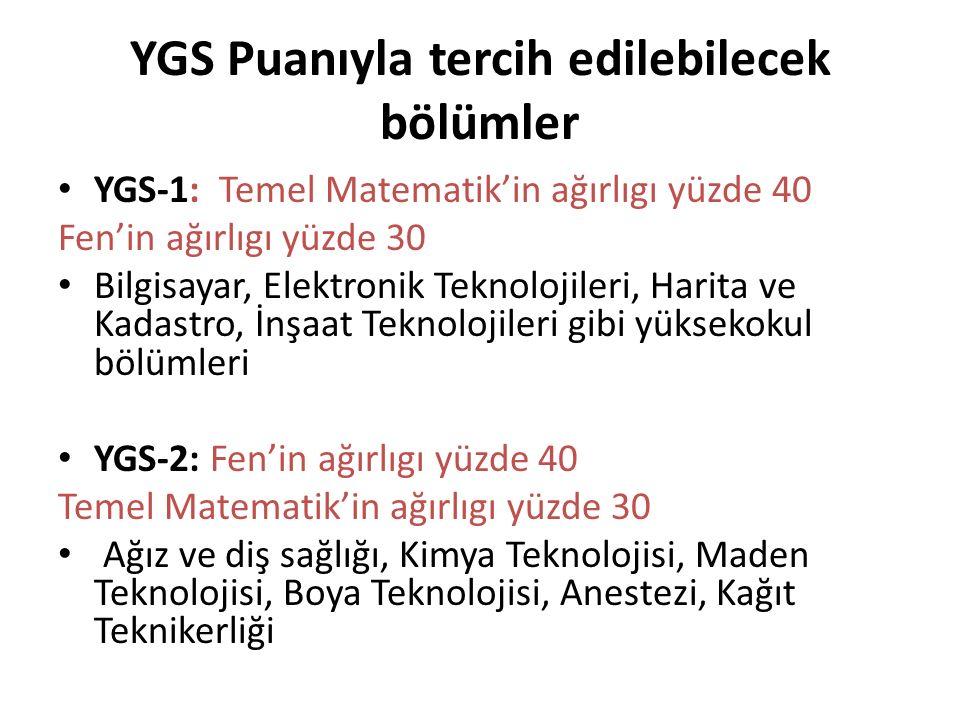 YGS-1: Temel Matematik'in ağırlıgı yüzde 40 Fen'in ağırlıgı yüzde 30 Bilgisayar, Elektronik Teknolojileri, Harita ve Kadastro, İnşaat Teknolojileri gibi yüksekokul bölümleri YGS-2: Fen'in ağırlıgı yüzde 40 Temel Matematik'in ağırlıgı yüzde 30 Ağız ve diş sağlığı, Kimya Teknolojisi, Maden Teknolojisi, Boya Teknolojisi, Anestezi, Kağıt Teknikerliği YGS Puanıyla tercih edilebilecek bölümler