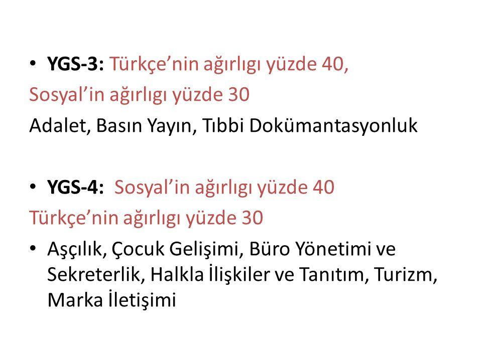 YGS-3: Türkçe'nin ağırlıgı yüzde 40, Sosyal'in ağırlıgı yüzde 30 Adalet, Basın Yayın, Tıbbi Dokümantasyonluk YGS-4: Sosyal'in ağırlıgı yüzde 40 Türkçe