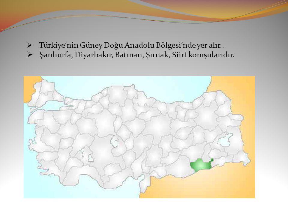  Türkiye'nin Güney Doğu Anadolu Bölgesi'nde yer alır..
