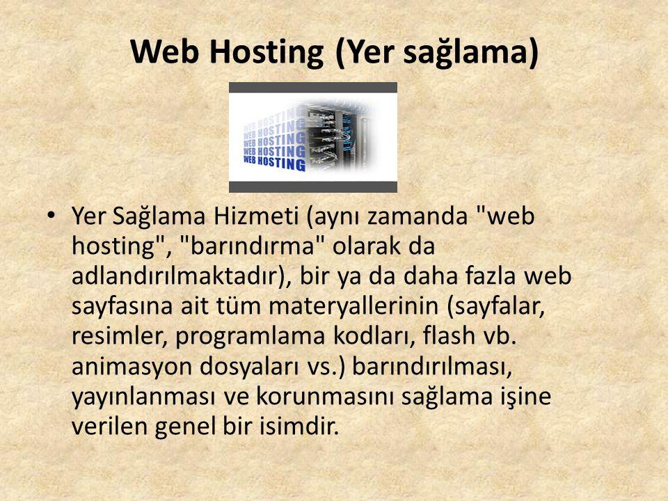 Web Hosting (Yer sağlama) Yer Sağlama Hizmeti (aynı zamanda web hosting , barındırma olarak da adlandırılmaktadır), bir ya da daha fazla web sayfasına ait tüm materyallerinin (sayfalar, resimler, programlama kodları, flash vb.