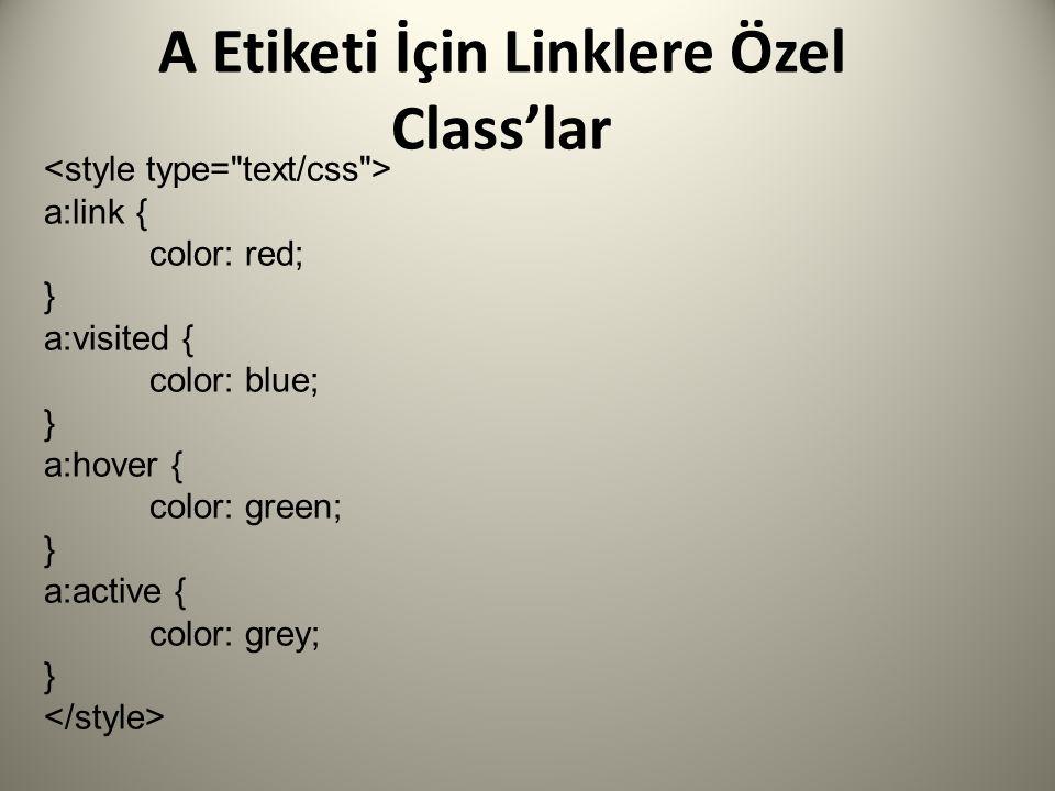 A Etiketi İçin Linklere Özel Class'lar a:link { color: red; } a:visited { color: blue; } a:hover { color: green; } a:active { color: grey; }