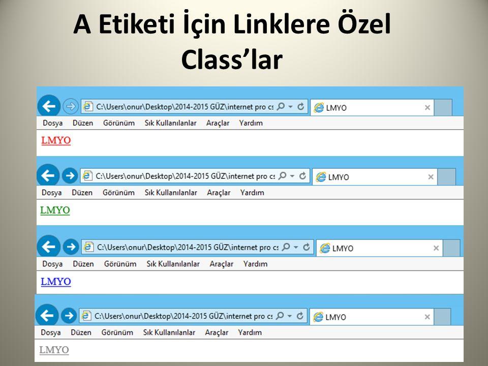 A Etiketi İçin Linklere Özel Class'lar