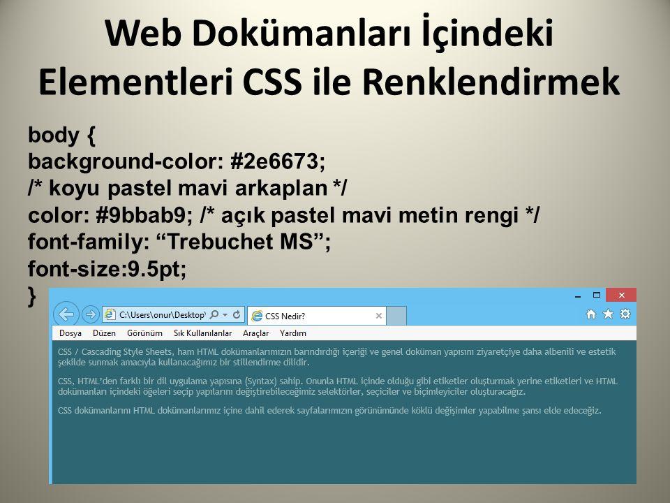body { background-color: #2e6673; /* koyu pastel mavi arkaplan */ color: #9bbab9; /* açık pastel mavi metin rengi */ font-family: Trebuchet MS ; font-size:9.5pt; }