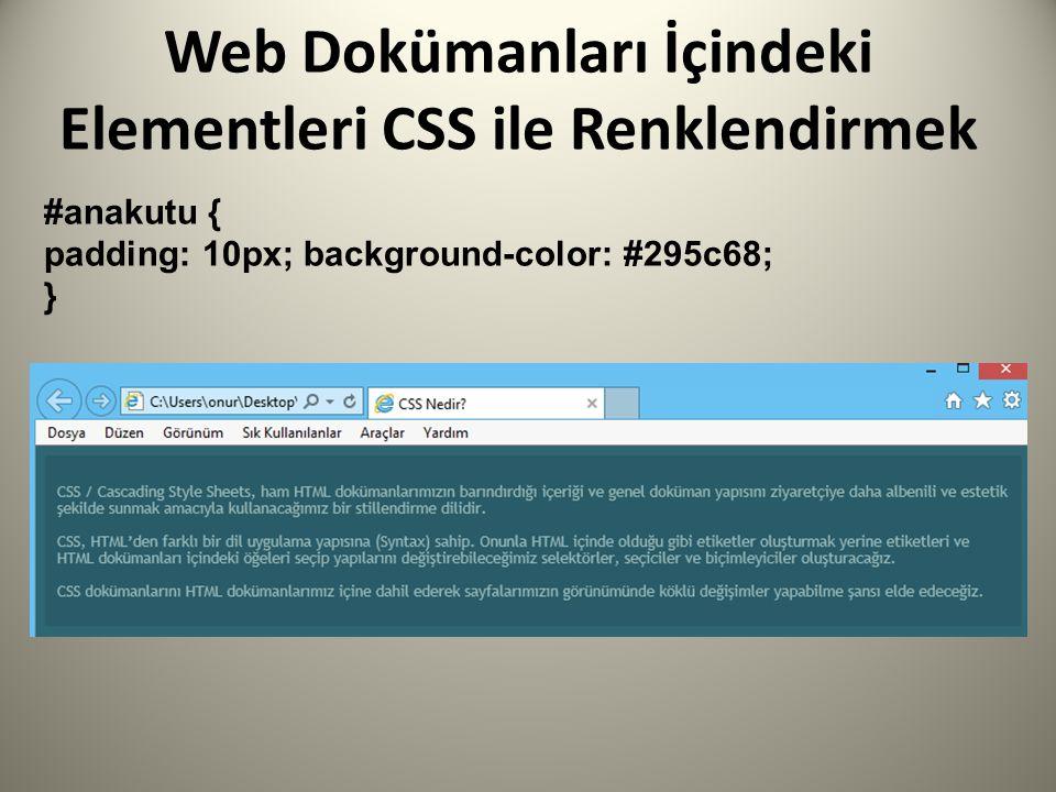 Web Dokümanları İçindeki Elementleri CSS ile Renklendirmek #anakutu { padding: 10px; background-color: #295c68; }