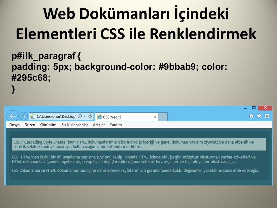 Web Dokümanları İçindeki Elementleri CSS ile Renklendirmek p#ilk_paragraf { padding: 5px; background-color: #9bbab9; color: #295c68; }