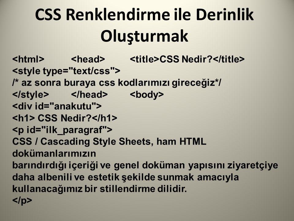 CSS Renklendirme ile Derinlik Oluşturmak CSS Nedir.