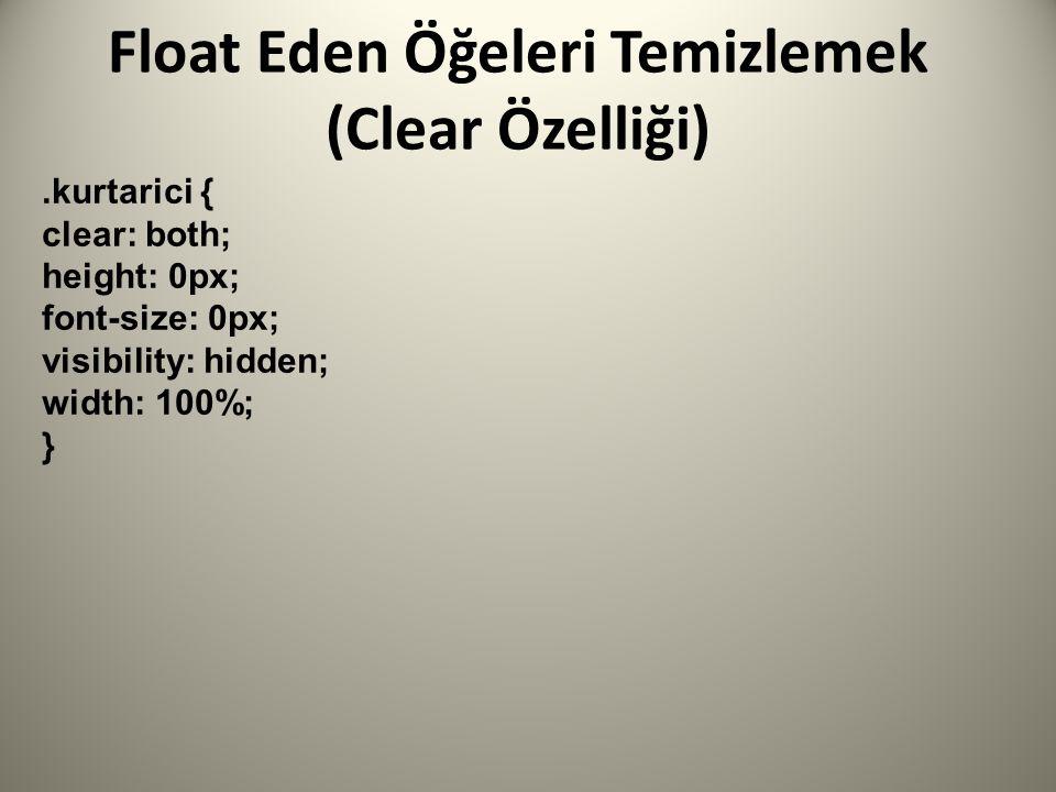 Float Eden Öğeleri Temizlemek (Clear Özelliği).kurtarici { clear: both; height: 0px; font-size: 0px; visibility: hidden; width: 100%; }