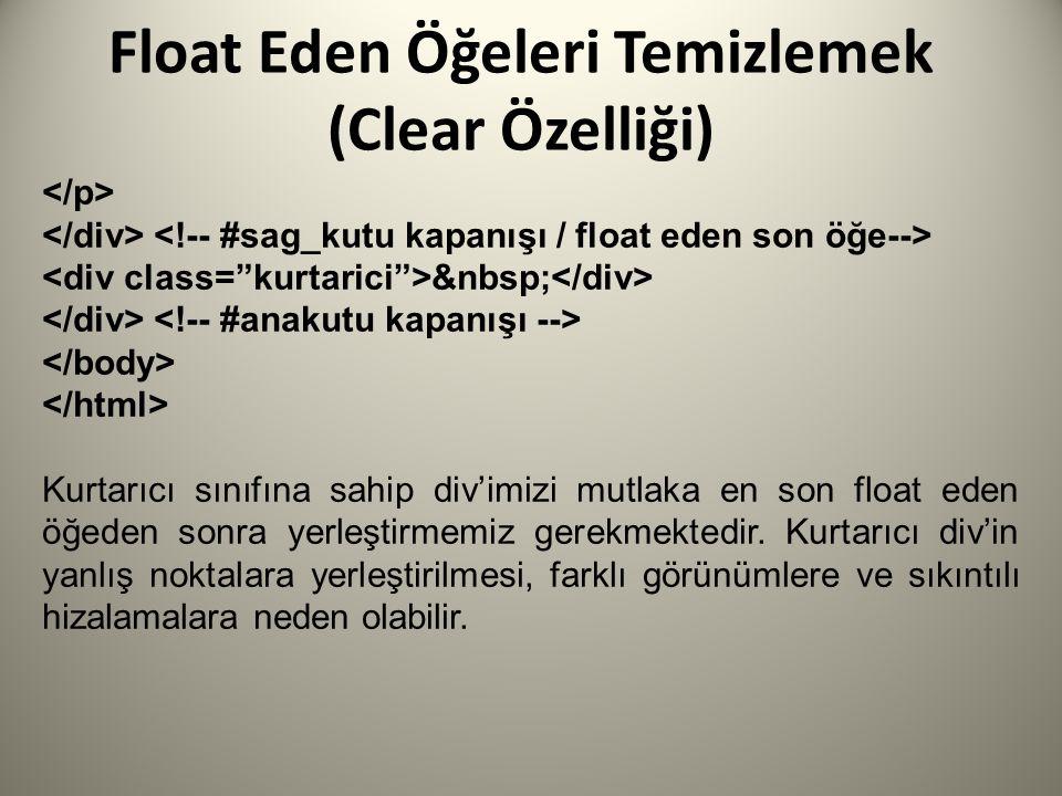 Float Eden Öğeleri Temizlemek (Clear Özelliği) Kurtarıcı sınıfına sahip div'imizi mutlaka en son float eden öğeden sonra yerleştirmemiz gerekmektedir.
