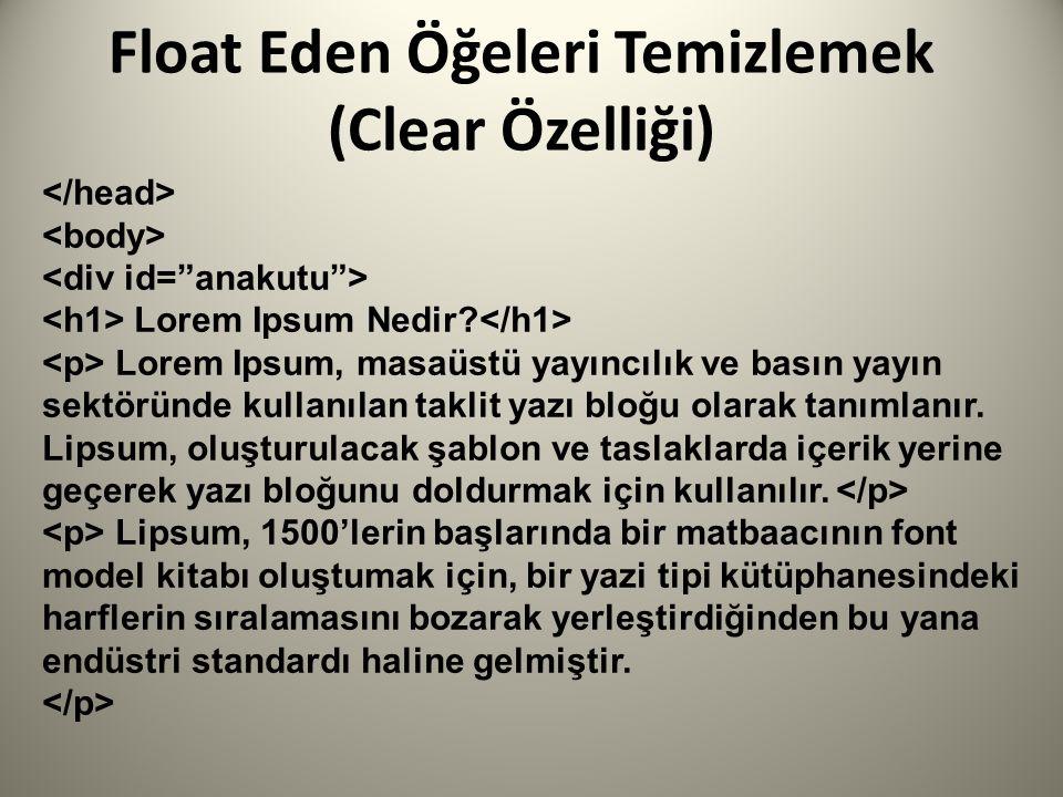 Float Eden Öğeleri Temizlemek (Clear Özelliği) Lorem Ipsum Nedir.
