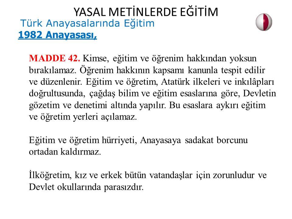 Türk Anayasalarında Eğitim 1982 Anayasası, MADDE 42. Kimse, eğitim ve öğrenim hakkından yoksun bırakılamaz. Öğrenim hakkının kapsamı kanunla tespit ed