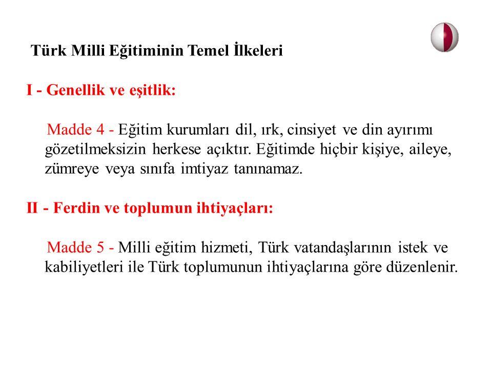 Türk Milli Eğitiminin Temel İlkeleri I - Genellik ve eşitlik: Madde 4 - Eğitim kurumları dil, ırk, cinsiyet ve din ayırımı gözetilmeksizin herkese açı