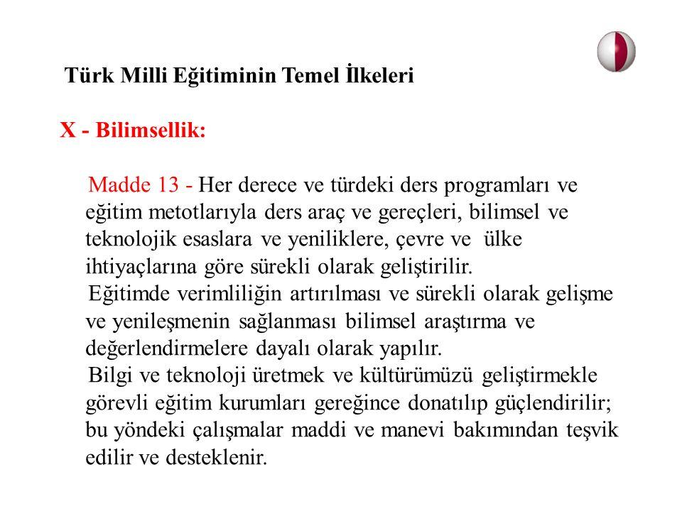 Türk Milli Eğitiminin Temel İlkeleri X - Bilimsellik: Madde 13 - Her derece ve türdeki ders programları ve eğitim metotlarıyla ders araç ve gereçleri,